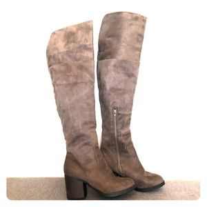 Shoes - Taupe Over the Knee Heeled Boots